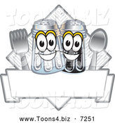 Vector Illustration of a Happy Salt and Pepper Shaker Cutlery and Napkin Mascot Characters Diner Sign or Logo by Toons4Biz