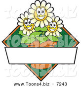 Vector Illustration of a Happy White Daisy Flower Mascot Character Logo or Sign Design with Copyspace and a Green Diamond by Toons4Biz