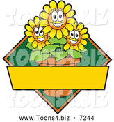 Vector Illustration of a Happy Yellow Daisy Flower Mascot Character Logo or Sign Design with Copyspace and a Green Diamond by Toons4Biz