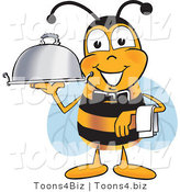 Vector Illustration of a Honey Bee Mascot Dressed As a Servant, Carrying a Food Platter by Toons4Biz