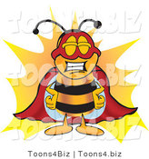 Vector Illustration of a Honey Bee Mascot Dressed As a Super Hero by Toons4Biz