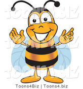 Vector Illustration of a Honey Bee Mascot Greeting with Open Arms by Toons4Biz
