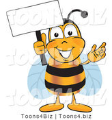 Vector Illustration of a Honey Bee Mascot Holding a Blank White Sign by Toons4Biz
