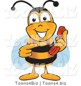 Vector Illustration of a Honey Bee Mascot Holding and Pointing to a Telephone by Toons4Biz