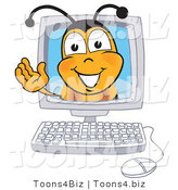 Vector Illustration of a Honey Bee Mascot in a Computer Monitor, Waving by Toons4Biz