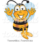 Vector Illustration of a Honey Bee Mascot Jumping with His Arms up by Toons4Biz