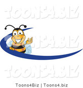 Vector Illustration of a Honey Bee Mascot Logo with a Blue Dash by Toons4Biz