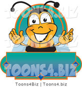 Vector Illustration of a Honey Bee Mascot on a Blank Blue and Green Label by Toons4Biz