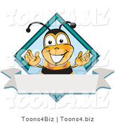 Vector Illustration of a Honey Bee Mascot on a Blank White Label by Toons4Biz