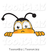 Vector Illustration of a Honey Bee Mascot Peeking over a Horizontal Surface by Toons4Biz
