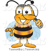 Vector Illustration of a Honey Bee Mascot Peeking Through a Magnifying Glass by Toons4Biz