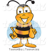 Vector Illustration of a Honey Bee Mascot Pointing at the Viewer by Toons4Biz