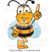 Vector Illustration of a Honey Bee Mascot Pointing Upwards by Toons4Biz