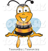 Vector Illustration of a Honey Bee Mascot Sitting by Toons4Biz