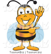 Vector Illustration of a Honey Bee Mascot Waving and Pointing to the Right by Toons4Biz