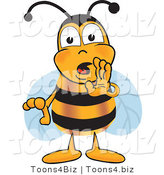Vector Illustration of a Honey Bee Mascot Whispering and Gossiping by Toons4Biz