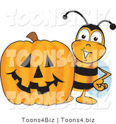 Vector Illustration of a Honey Bee Mascot with a Carved Halloween Pumpkin by Toons4Biz