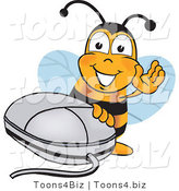 Vector Illustration of a Honey Bee Mascot with a Computer Mouse by Toons4Biz