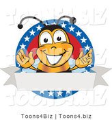 Vector Illustration of a Honey Bee Mascot with Stars on a Blank Label by Toons4Biz
