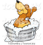Vector Illustration of a Hound Dog Mascot Bathing in a Metal Tub by Toons4Biz