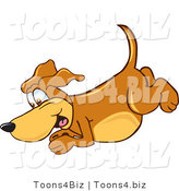 Vector Illustration of a Hound Dog Mascot Diving or Jumping by Toons4Biz