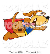 Vector Illustration of a Hound Dog Mascot Dressed As a Super Hero, Flying by Toons4Biz