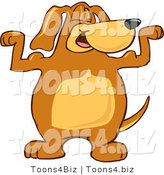 Vector Illustration of a Hound Dog Mascot Flexing His Bicep Arm Muscles by Toons4Biz