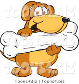 Vector Illustration of a Hound Dog Mascot Holding a Big Doggy Bone Treat by Toons4Biz