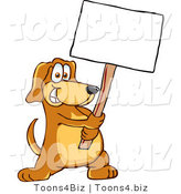 Vector Illustration of a Hound Dog Mascot Holding a Blank White Sign by Toons4Biz