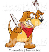 Vector Illustration of a Hound Dog Mascot Holding a Knife and Fork, Extremely Hungry by Toons4Biz