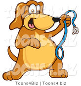 Vector Illustration of a Hound Dog Mascot Holding a Leash, Ready for a Walk by Toons4Biz