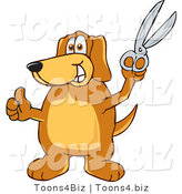Vector Illustration of a Hound Dog Mascot Holding a Pair of Scissors by Toons4Biz