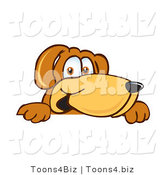 Vector Illustration of a Hound Dog Mascot Peeking over a Surface by Toons4Biz