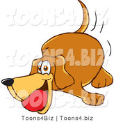 Vector Illustration of a Hound Dog Mascot Playing with a Red Ball by Toons4Biz