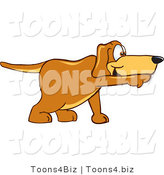 Vector Illustration of a Hound Dog Mascot Pointing While Sniffing Something out by Toons4Biz