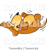 Vector Illustration of a Hound Dog Mascot Rolling Around on His Back, Asking for a Belly Rub by Toons4Biz