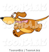 Vector Illustration of a Hound Dog Mascot Running Obsessively After Something by Toons4Biz