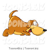 Vector Illustration of a Hound Dog Mascot Sniffing the Ground by Toons4Biz