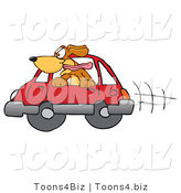Vector Illustration of a Hound Dog Mascot Sticking His Head out of a Car Window by Toons4Biz
