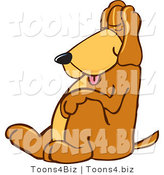Vector Illustration of a Hound Dog Mascot, Tired and Worn Out, Sleeping While Sitting up by Toons4Biz
