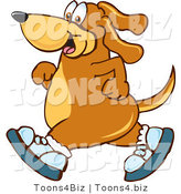 Vector Illustration of a Hound Dog Mascot Wearing Tennis Shoes and Taking a Walk by Toons4Biz