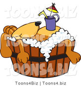 Vector Illustration of a Hound Dog Mascot with a Drink on His Belly, Taking a Bath by Toons4Biz
