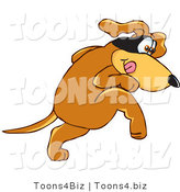 Vector Illustration of a Hound Dog Mascot with a Mask over His Eyes, Being Sneaky by Toons4Biz