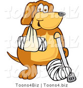Vector Illustration of a Hound Dog Mascot with an Arm and Leg Bandaged up by Toons4Biz