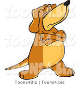 Vector Illustration of a Hound Dog Mascot with Crossed Arms, Disobeying Commands by Toons4Biz