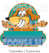 Vector Illustration of a Hound Dog Mascot with Open Arms Above a Blank Label by Toons4Biz