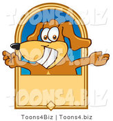 Vector Illustration of a Hound Dog Mascot with Open Arms on a Banner by Toons4Biz