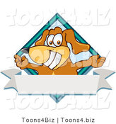 Vector Illustration of a Hound Dog Mascot with Open Arms over a Blank White Label by Toons4Biz