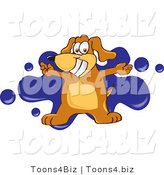 Vector Illustration of a Hound Dog Mascot with Open Arms over a Blue Splatter by Toons4Biz