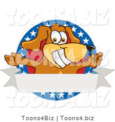 Vector Illustration of a Hound Dog Mascot with Open Arms with a Blank Label by Toons4Biz